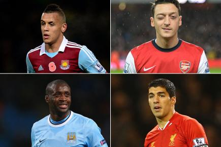 Danger men: (Clockwise from left) Ravel Morrison, Mesut Ozil, Luis Suarez and Yaya Toure will all be in action on Boxing Day
