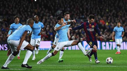 Lionel Messi in action during Barcelona's Champions League clash with Manchester City